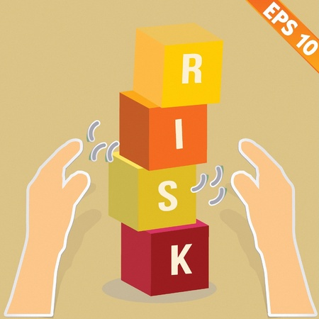 stacking: Hand with risk box stacking - Vector illustration
