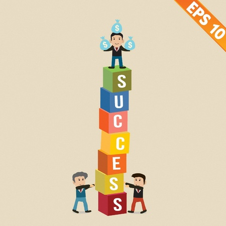 Cartoon Businessman stand on risk block - Vector illustration