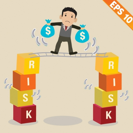 Cartoon Businessman with risk management concept - Vector illustration  Vector