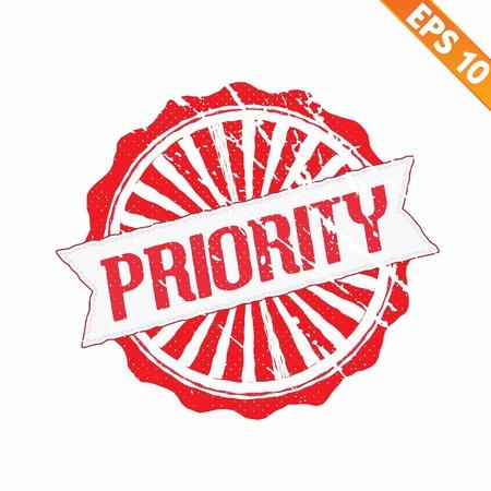 oficina desordenada: Sello de goma de alta prioridad - ilustración vectorial