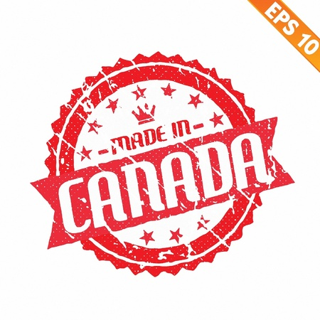 canada stamp:  Rubber stamp made in the country - Vector illustration