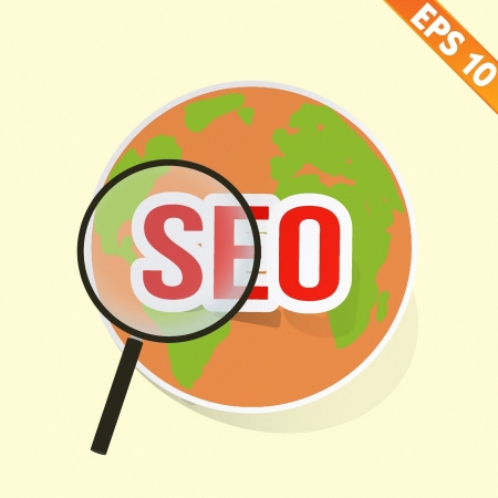 puzzling: Magnifier Enlarges earth for search concept - Vector illustration  Illustration