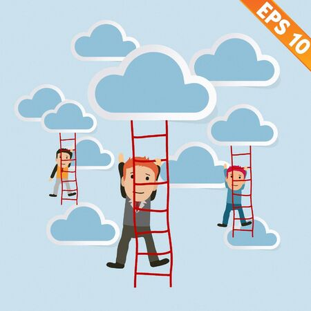adder: Cartoon Businessman climbing ladder - Vector illustration
