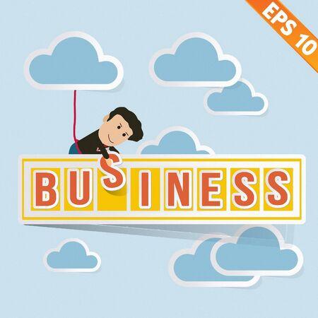 Cartoon Businessman with business billboard - Vector illustration Stock Vector - 20896337