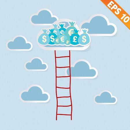 adder: Ladder with cloud - Vector illustration  Illustration