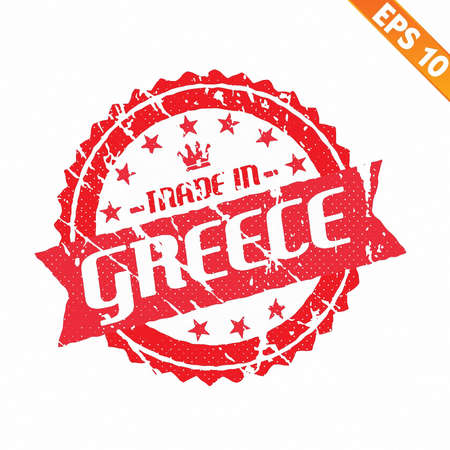 made in greece stamp:  Rubber stamp made in the country - Vector illustration