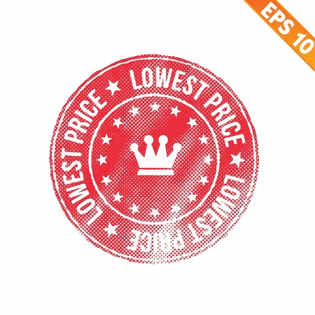 lowest: Grunge lowest price guarantee rubber stamp  - Vector illustration