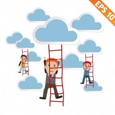 adder: Cartoon Businessman climbing ladder - Vector illustration