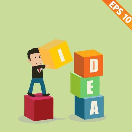 stacking: Cartoon Businessman stacking idea box - Vector illustration