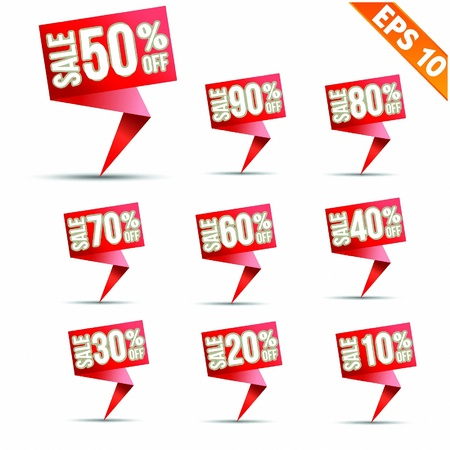 Sale discount colored origami banners -  Vector illustration - EPS10   Vector