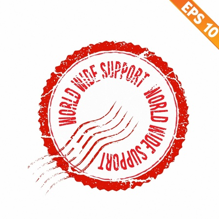 Rubber stamp world wide support - Vector illustration  Vector