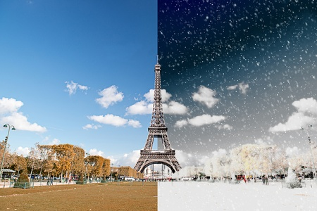 contrasted: The Eiffel Tower in Paris, France - Season Chnage Concept