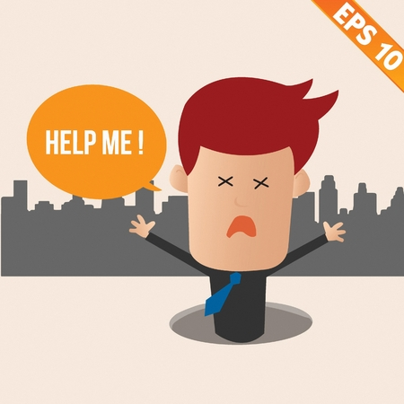 business problems: Cartoon Businessman ask for help - Vector illustration Illustration