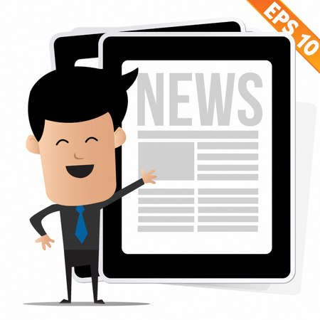 Young cartoon business man with News on tablet - Vector illustration Vector