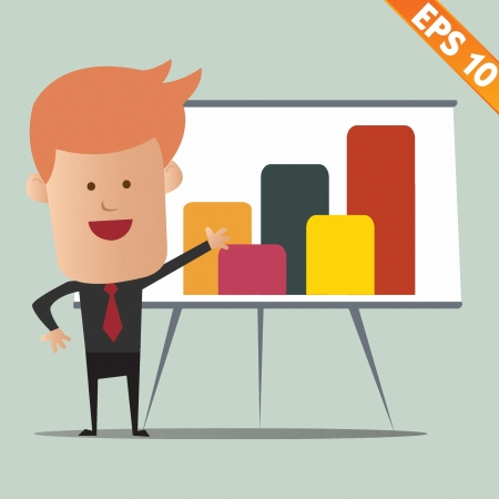 Cartoon business man present information - Vector illustration Vector