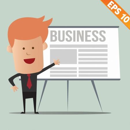 empleos: Hombre de negocios que presentan la información de dibujos animados - ilustración vectorial - EPS10