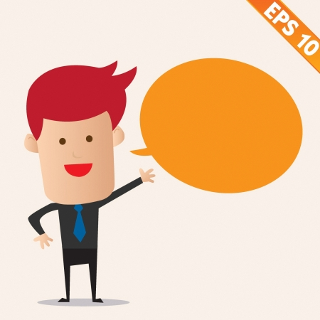 Cartoon business man with bubble - Vector illustration Stock Vector - 22545253