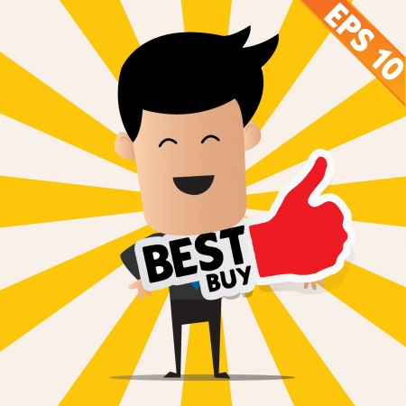 great success: Business man holding Sticker Best tag collection  - Vector illustration  Illustration