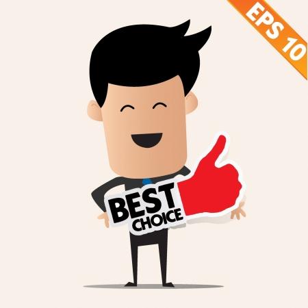 Business man holding Stitcker Best tag collection  - Vector illustration Stock Vector - 22545261