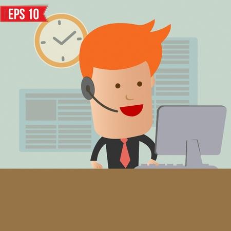 Cartoon business man receive the call - Vector illustration