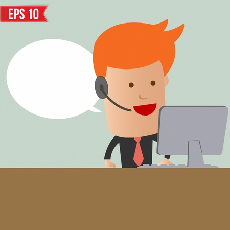 phone operator: Cartoon business man receive the call - Vector illustration