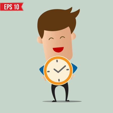 time out: Business man holding clock - Vector illustration