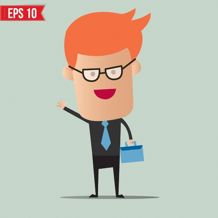 happy business man: Business man holding bag - Vector illustration