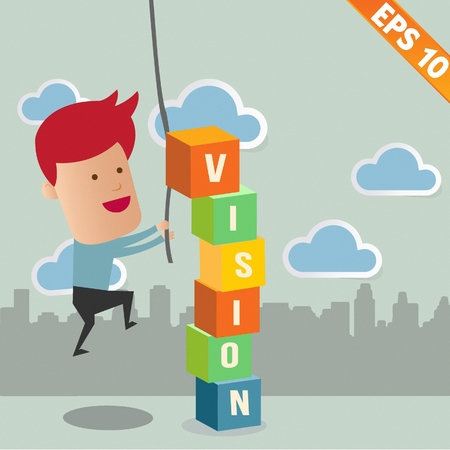 Business man with business word - Vector illustration Vector