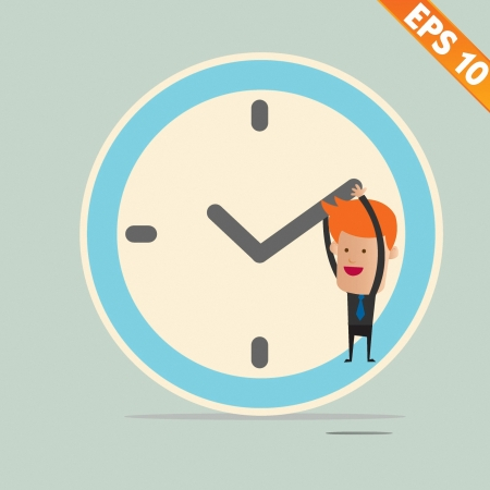 Cartoon Businessman hanging on the clock - Vector illustration Vector