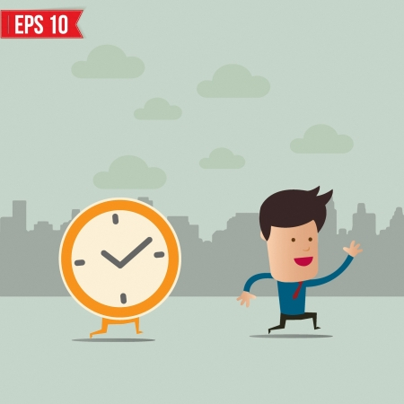 watch movement: Business man run ahead the clock  - Vector illustration