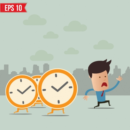 Business man run ahead the clock  - Vector illustration Illustration