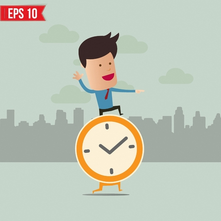 time out: Business man stand on the clock  - Vector illustration Illustration
