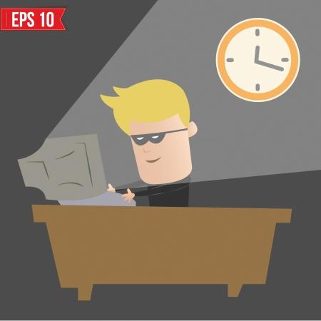 computer hacker: Hacker incisione sul computer - illustrazione vettoriale