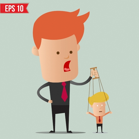 influence: Business man control the doll  - Vector illustration