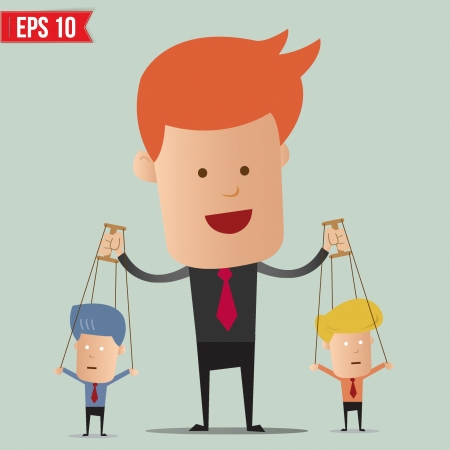 puppeteer: Business man control the doll  - Vector illustration