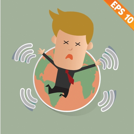 end of the world: Cartoon Businessman stand with earthquake - Vector illustration - EPS10