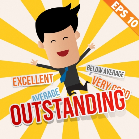 average: Business man with an evaluation score  - Vector illustration