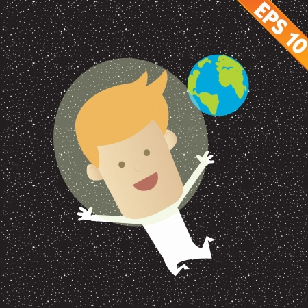 Business man fly on the space - Vector illustration Vector