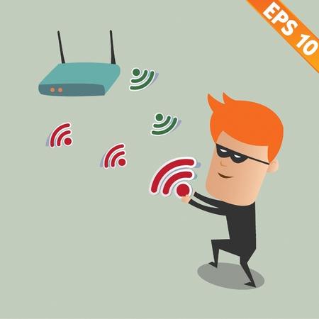 snuffelen: Hacker snuiven draadloos netwerk - Vector illustratie