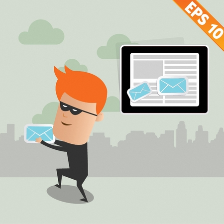 hackers: Hacker steal email - Vector illustration