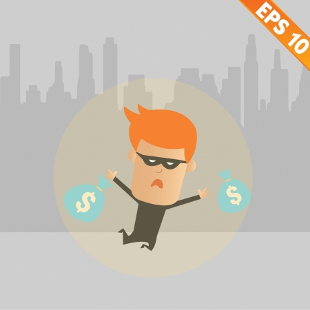 fugitive: Thief steal money - Vector illustration