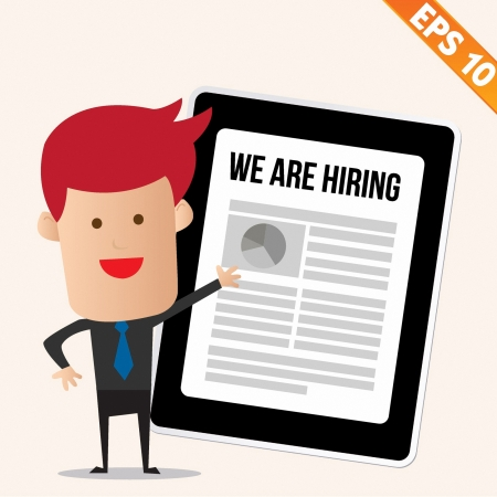 help wanted: Business man with magnifier Enlarges job on Tablet - Vector illustration