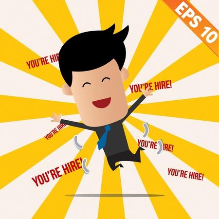 autocratic: Business man got a job  - Vector illustration