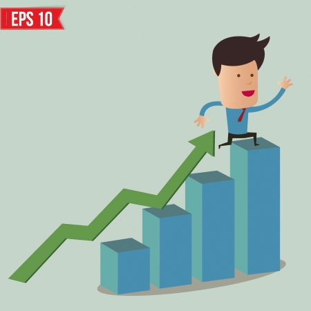rise to the top: Business man fall from graph  - Vector illustration