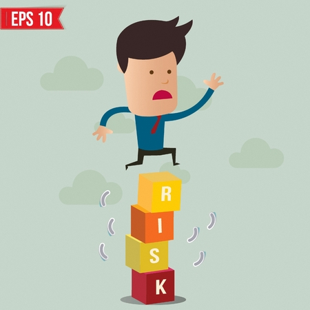 business jump: Business man jump over the risk block - Vector illustration - EPS10