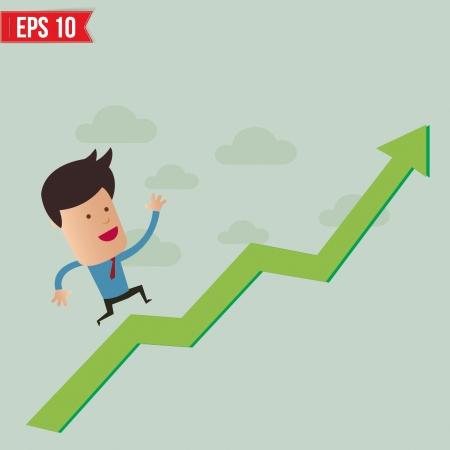 winning stock: Business man run over the graph - Vector illustration
