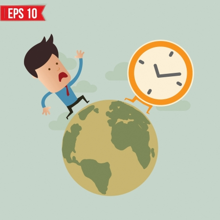 time out: Business man run follow the clock  - Vector illustration