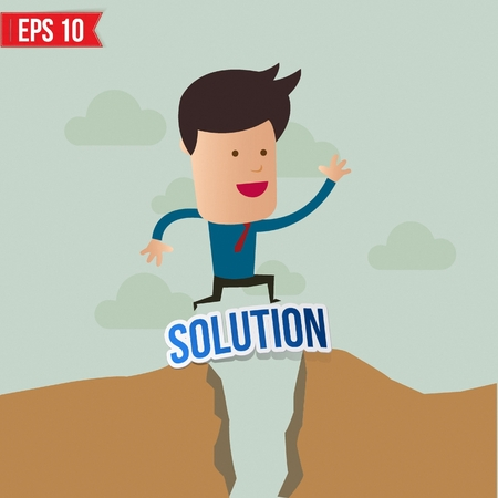 overcoming: Business man jump over the hill - Vector illustration Illustration