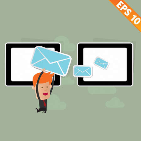 Cartoon Business man carry email service  - Vector illustration Stock Vector - 22549064