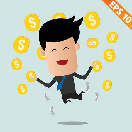 Cartoon Businessman with financial money - Vector illustration Vector